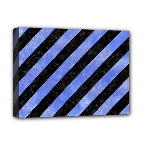 Stripes3 Black Marble & Blue Watercolor Deluxe Canvas 16  X 12  (stretched)  by trendistuff