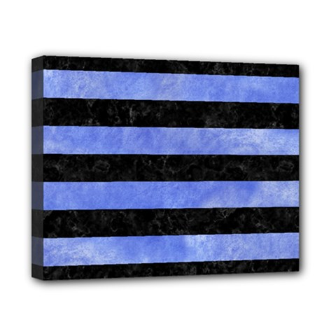 Stripes2 Black Marble & Blue Watercolor Canvas 10  X 8  (stretched) by trendistuff