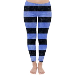 Stripes2 Black Marble & Blue Watercolor Classic Winter Leggings by trendistuff