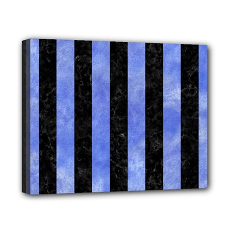 Stripes1 Black Marble & Blue Watercolor Canvas 10  X 8  (stretched) by trendistuff
