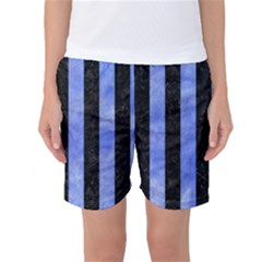 Stripes1 Black Marble & Blue Watercolor Women s Basketball Shorts by trendistuff