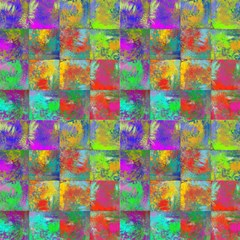 Abstract Incas Square Mix By Paysmage Fabric by PAYSMAGE