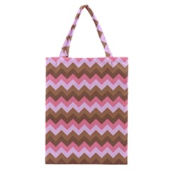 Shades Of Pink And Brown Retro Zigzag Chevron Pattern Classic Tote Bag by Nexatart