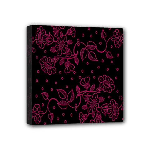 Pink Floral Pattern Background Mini Canvas 4  X 4  by Nexatart