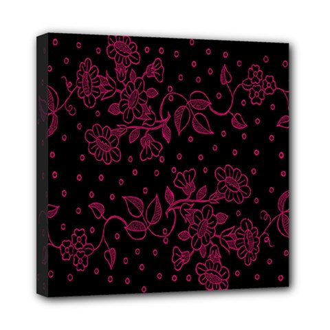 Pink Floral Pattern Background Mini Canvas 8  X 8  by Nexatart