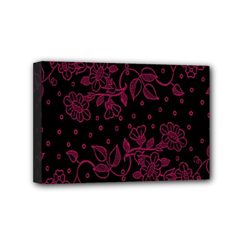 Pink Floral Pattern Background Mini Canvas 6  X 4  by Nexatart
