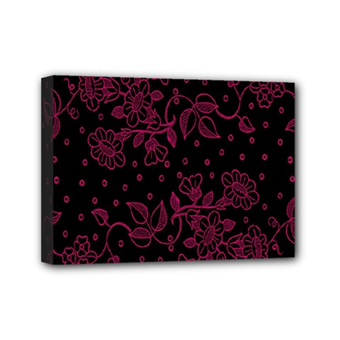 Pink Floral Pattern Background Mini Canvas 7  X 5  by Nexatart