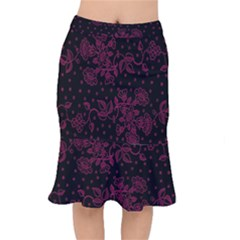 Pink Floral Pattern Background Mermaid Skirt