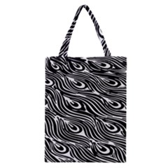 Digitally Created Peacock Feather Pattern In Black And White Classic Tote Bag by Nexatart