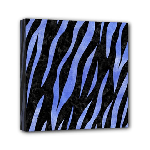 Skin3 Black Marble & Blue Watercolor Mini Canvas 6  X 6  (stretched) by trendistuff