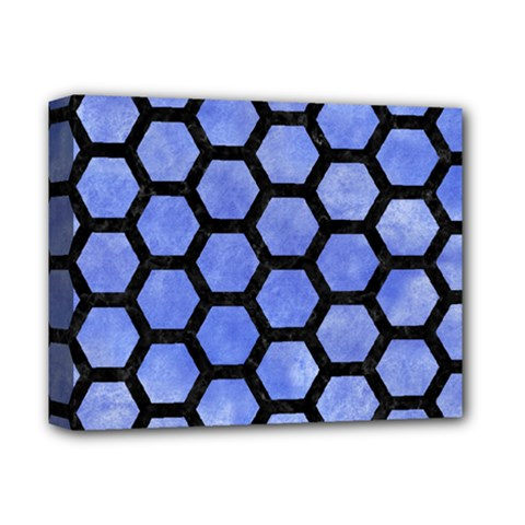Hexagon2 Black Marble & Blue Watercolor (r) Deluxe Canvas 14  X 11  (stretched) by trendistuff