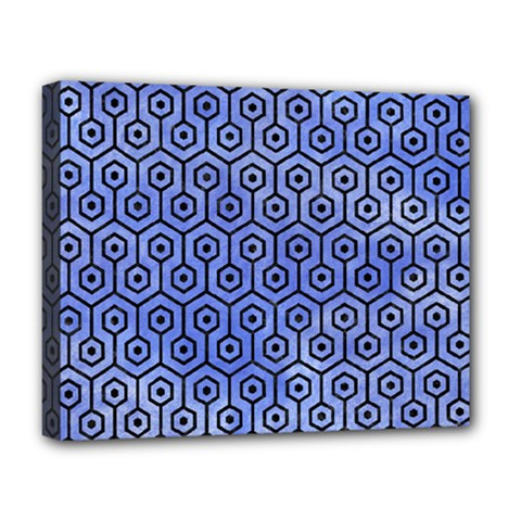 Hexagon1 Black Marble & Blue Watercolor (r) Deluxe Canvas 20  X 16  (stretched) by trendistuff