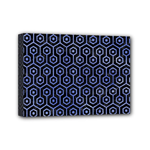 Hexagon1 Black Marble & Blue Watercolor Mini Canvas 7  X 5  (stretched) by trendistuff