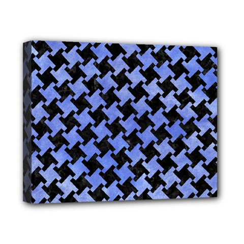 Houndstooth2 Black Marble & Blue Watercolor Canvas 10  X 8  (stretched) by trendistuff
