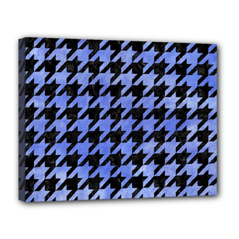 Houndstooth1 Black Marble & Blue Watercolor Canvas 14  X 11  (stretched) by trendistuff
