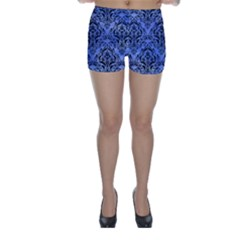 Damask1 Black Marble & Blue Watercolor (r) Skinny Shorts by trendistuff
