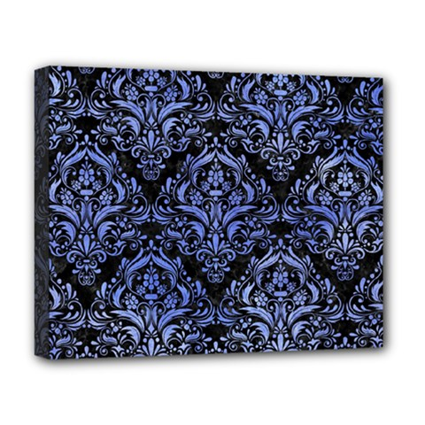 Damask1 Black Marble & Blue Watercolor Deluxe Canvas 20  X 16  (stretched) by trendistuff