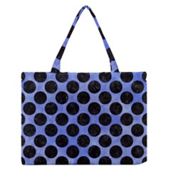 Circles2 Black Marble & Blue Watercolor (r) Medium Zipper Tote Bag by trendistuff
