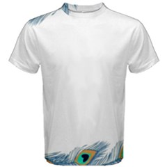 Beautiful Frame Made Up Of Blue Peacock Feathers Men s Cotton Tee by Nexatart