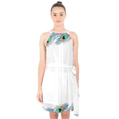 Beautiful Frame Made Up Of Blue Peacock Feathers Halter Collar Waist Tie Chiffon Dress