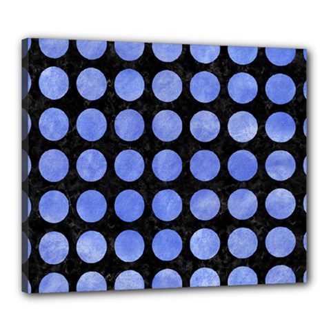 Circles1 Black Marble & Blue Watercolor Canvas 24  X 20  (stretched) by trendistuff