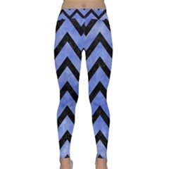 Chevron9 Black Marble & Blue Watercolor (r) Classic Yoga Leggings by trendistuff