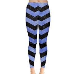 Chevron3 Black Marble & Blue Watercolor Leggings  by trendistuff