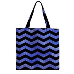 Chevron3 Black Marble & Blue Watercolor Zipper Grocery Tote Bag by trendistuff