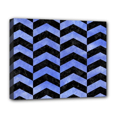 Chevron2 Black Marble & Blue Watercolor Deluxe Canvas 20  X 16  (stretched) by trendistuff