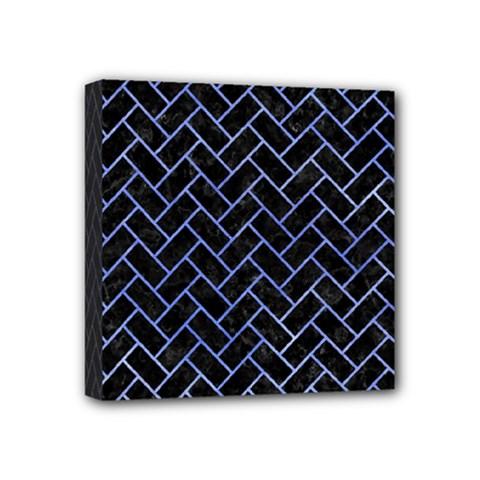 Brick2 Black Marble & Blue Watercolor Mini Canvas 4  X 4  (stretched) by trendistuff