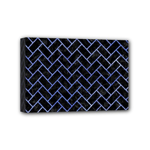 Brick2 Black Marble & Blue Watercolor Mini Canvas 6  X 4  (stretched) by trendistuff
