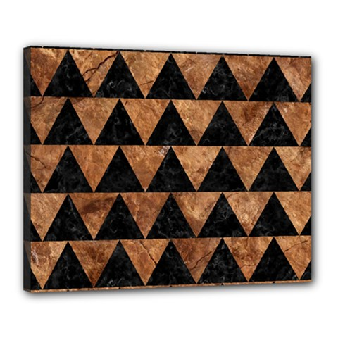 Triangle2 Black Marble & Brown Stone Canvas 20  X 16  (stretched) by trendistuff