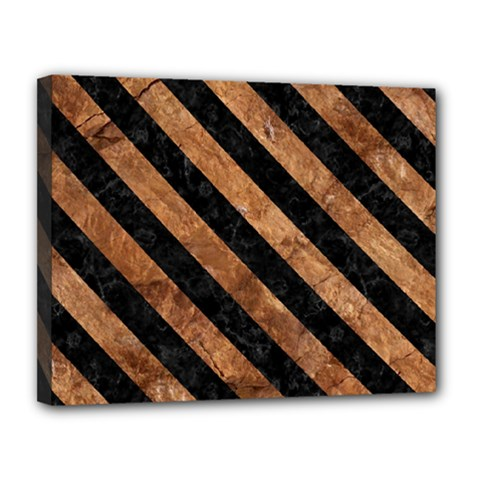 Stripes3 Black Marble & Brown Stone (r) Canvas 14  X 11  (stretched) by trendistuff