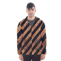 Stripes3 Black Marble & Brown Stone Hooded Wind Breaker (men) by trendistuff