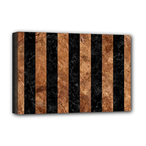 Stripes1 Black Marble & Brown Stone Deluxe Canvas 18  X 12  (stretched) by trendistuff