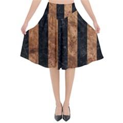 Stripes1 Black Marble & Brown Stone Flared Midi Skirt by trendistuff