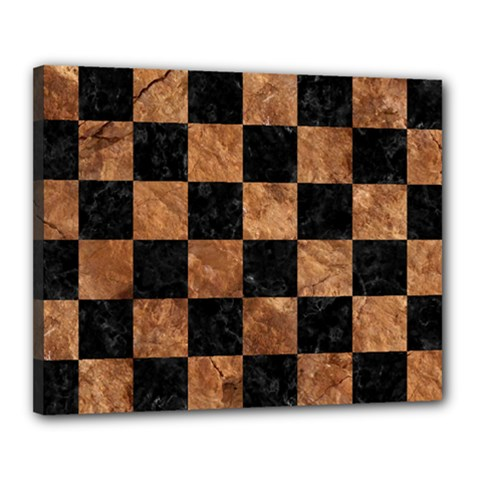 Square1 Black Marble & Brown Stone Canvas 20  X 16  (stretched) by trendistuff
