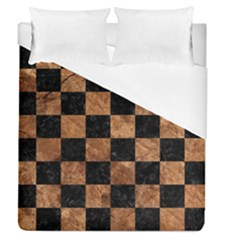 Square1 Black Marble & Brown Stone Duvet Cover (queen Size) by trendistuff