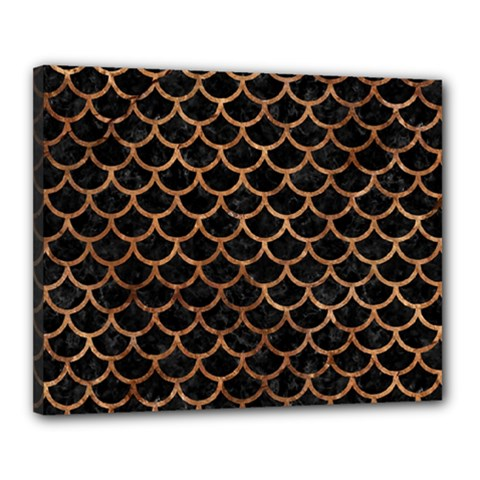 Scales1 Black Marble & Brown Stone Canvas 20  X 16  (stretched) by trendistuff