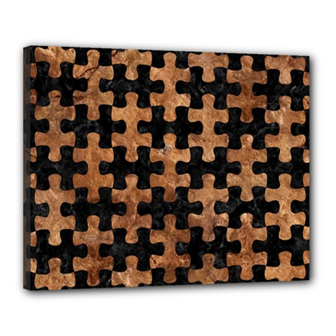 Puzzle1 Black Marble & Brown Stone Canvas 20  X 16  (stretched) by trendistuff