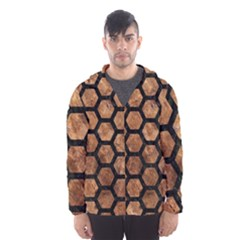Hexagon2 Black Marble & Brown Stone (r) Hooded Wind Breaker (men) by trendistuff
