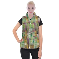 Woven Colorful Abstract Background Of A Tight Weave Pattern Women s Button Up Puffer Vest by Nexatart