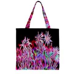Fractal Fireworks Display Pattern Zipper Grocery Tote Bag by Nexatart