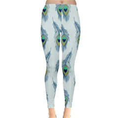 Background Of Beautiful Peacock Feathers Leggings  by Nexatart