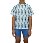 Background Of Beautiful Peacock Feathers Kids  Short Sleeve Swimwear