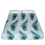Background Of Beautiful Peacock Feathers Fitted Sheet (Queen Size)