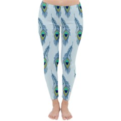 Background Of Beautiful Peacock Feathers Classic Winter Leggings by Nexatart