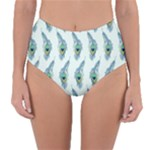 Background Of Beautiful Peacock Feathers Reversible High-Waist Bikini Bottoms