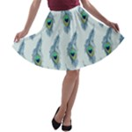 Background Of Beautiful Peacock Feathers A-line Skater Skirt