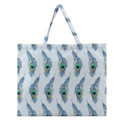 Background Of Beautiful Peacock Feathers Zipper Large Tote Bag by Nexatart